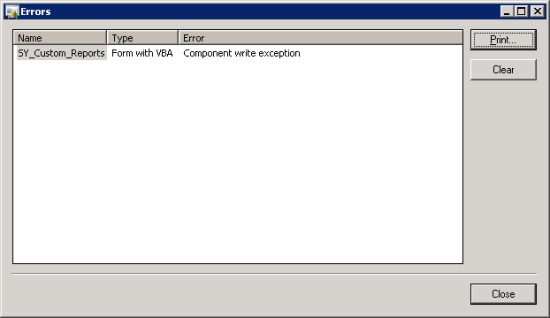 Component Write Exception