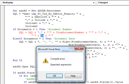 Microsoft Visual Basic: Compile error: Expected: expression