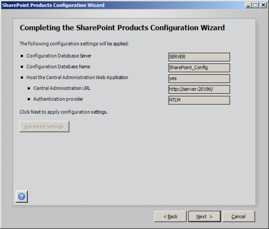 Completing the SharePoint Products Configuration Wizard