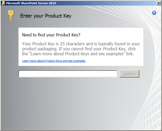 Enter your Product Key