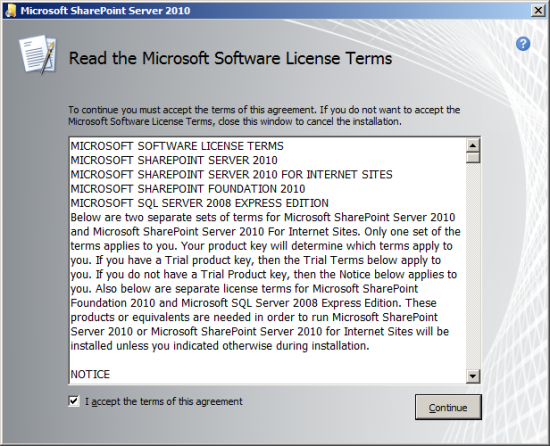 Read the Microsoft Software License Terms