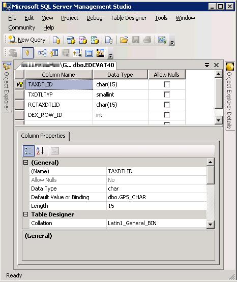 SQL Server Management Studio - EDCVAT40