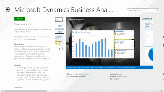 Windows 8 App Store - Business Analyzer