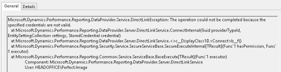 Microsoft.Dynamics.Performance.Reporting.DataProvider.Service.DirectLink Exceptions: The operation could not be completed because the specified credentials are not valid.