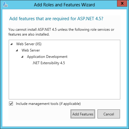 Add Roles and Features Wizard - Add features that are required for ASP.NET 4.5?