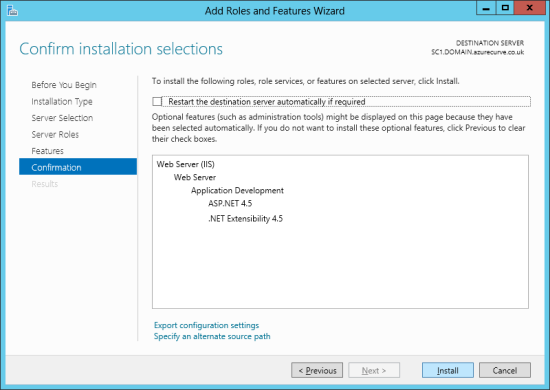 Add Roles and Features Wizard - Confirm installation selections