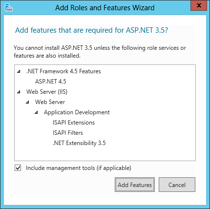 Add Roles and Features Wizard - Add features that are required for ASP.NET 3.5?