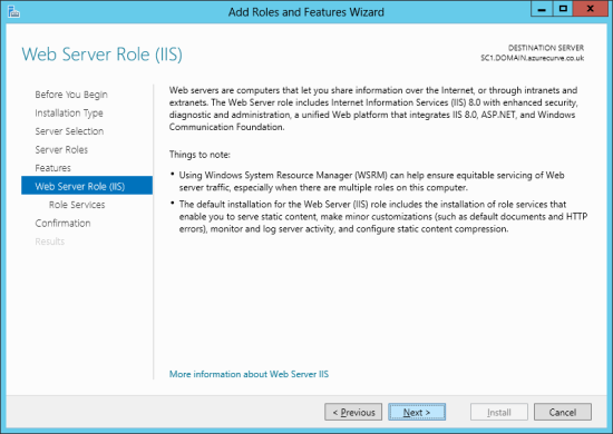 Add Roles and Features Wizard - Web Server Role (IIS)