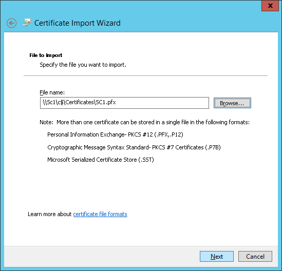 Certificate Import Wizard - File to Import