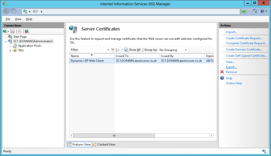 Internet Information Services (IIS) Manager - Server Certificates