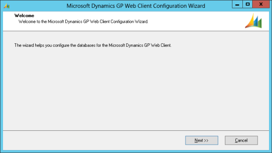 Microsoft Dynamics GP Web Client Configuration Wizard - Welcome