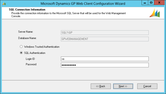 Microsoft Dynamics GP Web Client Configuration Wizard - SQL Connection Information
