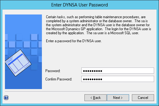 Enter DYNSA User Password