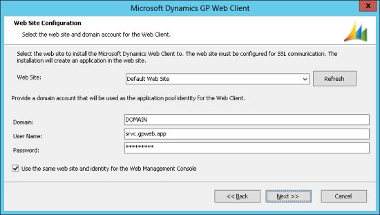 Microsoft Dynamics GP Web Client - Web Site Configuration