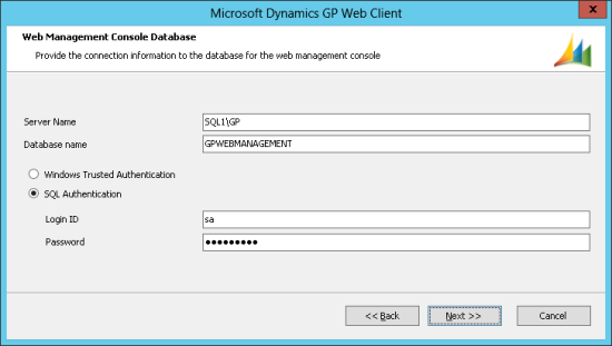 Microsoft Dynamics GP Web Client - Web Management Console Database