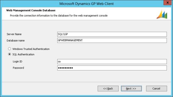 Microsoft Dynamics GP Web Client - Web Management Console Database