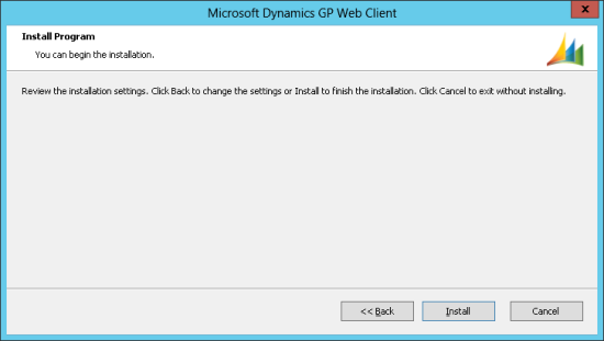 Microsoft Dynamics GP Web Client - Install Program