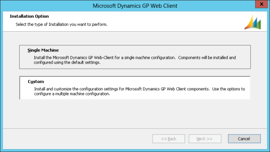Microsoft Dynamics GP Web Client - Installation Option