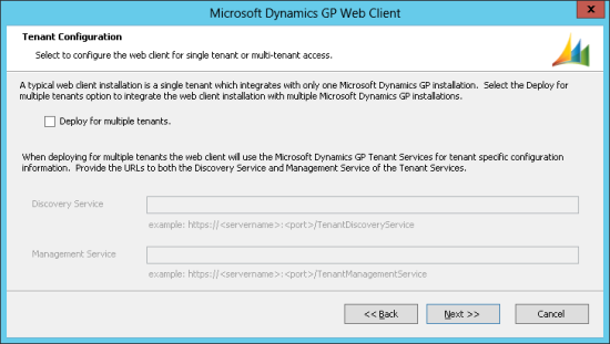 Microsoft Dynamics GP Web Client - Tenant Configuration