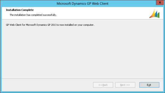 Microsoft Dynamics GP Web Client - Installation Complete