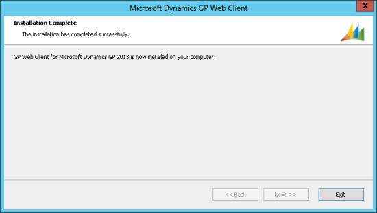 Microsoft Dynamics GP Web Client - Installation Complete