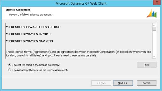 Microsoft Dynamics GP Web Client - License Agreement