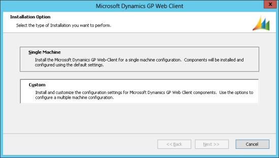 Microsoft Dynamics GP Web Client - Installation Option