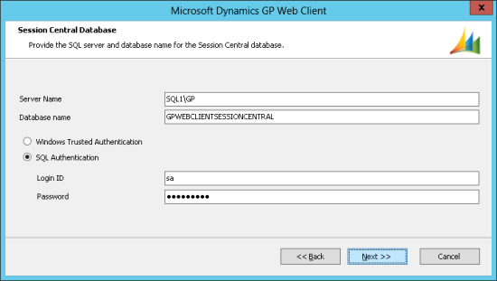 Microsoft Dynamics GP Web Client - Session Central Database