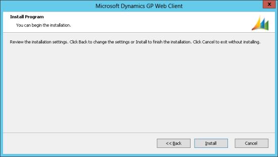 Microsoft Dynamics GP Web Client - Install Program