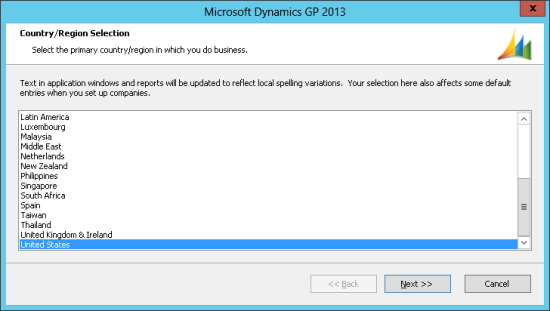 Microsoft Dynamics GP 2013 - Country/Region Selection