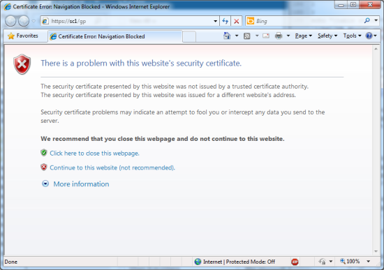 Certificate Error: Navigation Blocked - Windows Internet Explorer
