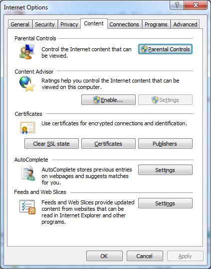 Internet Options - Content