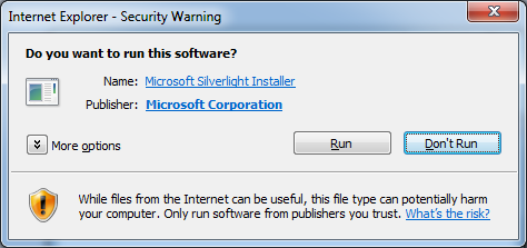 Internet Explorer - Security Warning