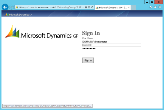 Microsoft Dynamics GP Web Client - Sign In