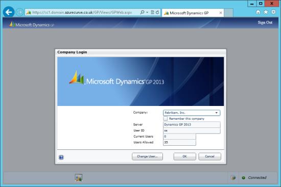 Microsoft Dynamics GP Web Client - Company Login