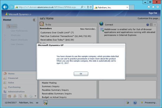 Microsoft Dynamics GP Web Client - Sample Company warning