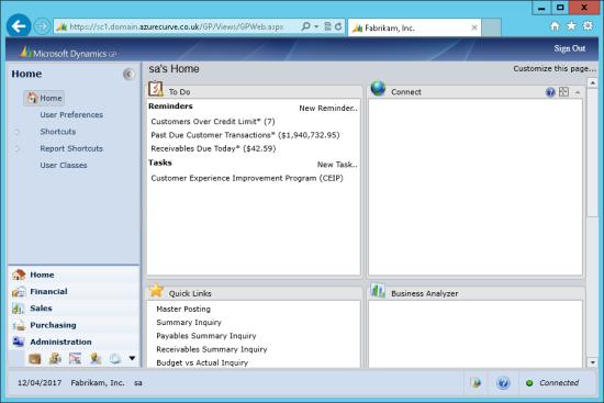 Microsoft Dynamics GP Web Client - Home
