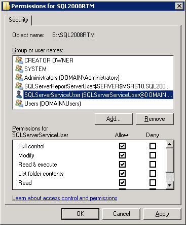Permissions for SQL2008RTM