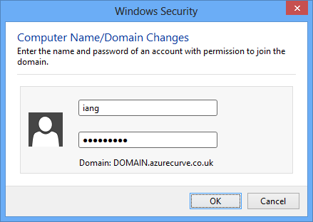 Windows Security - Computer Name/Domain Changes - Enter the name and password of an account with permission to join the domain.