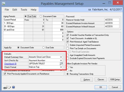 Payables Management Setup