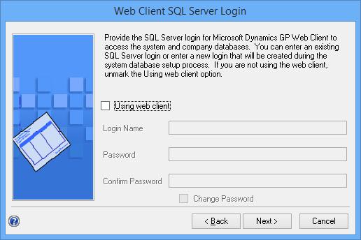 Web Client SQL Server Login