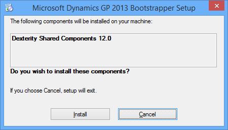 Microsoft Dynamics GP 2013 Bootstrapper Setup