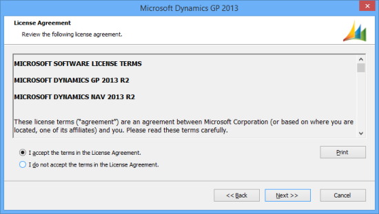 Microsoft Dynamics GP 2013 - License Agreement
