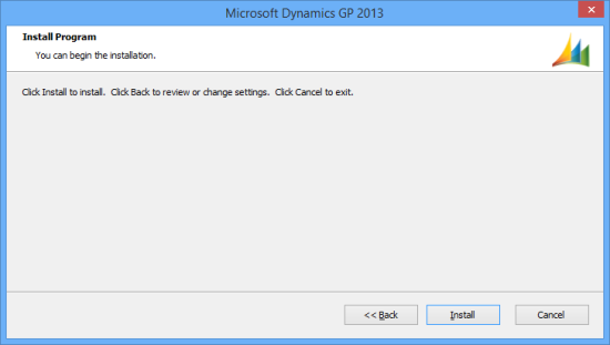 Microsoft Dynamics GP 2013 - Install Program