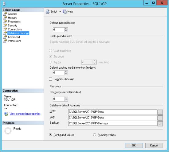 Server Properties - SQL1\GP