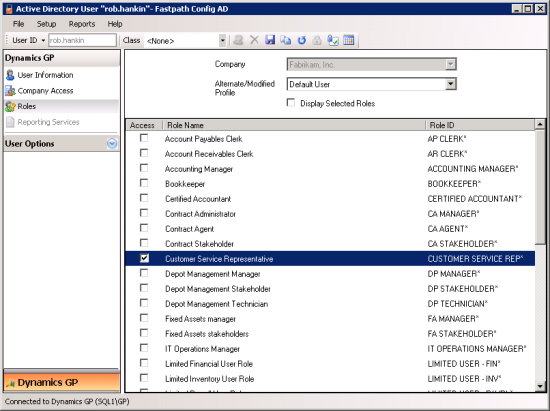 "Active Directory User ""iang"" - Fastpath Config AD - Roles"