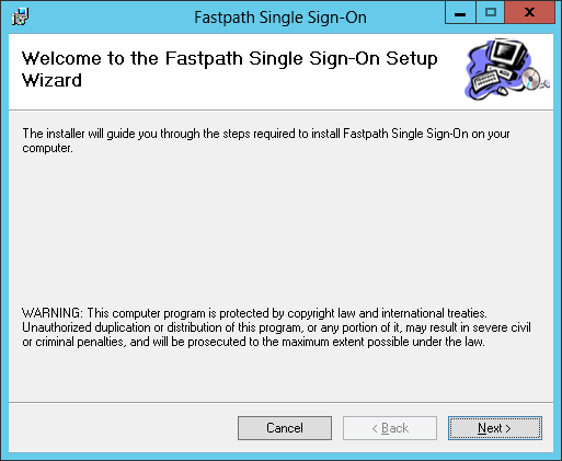 Fastpath Single Sign-On: Welcome to the Fastpath Single Sign-On Setup Wizard