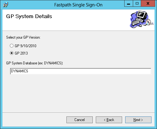 Fastpath Single Sign-On: GP System Details