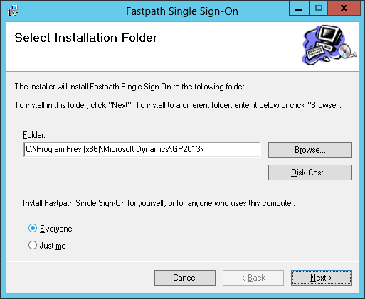 Fastpath Single Sign-On: Select Installation Folder