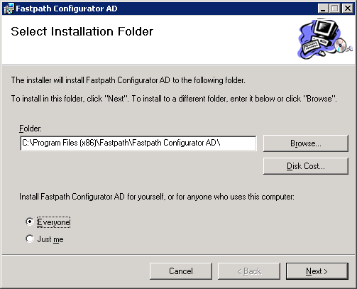 Fastpath Configurator AD - Select Installation Folder
